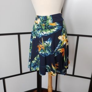Chaps petite pull-on bird of paradise print skirt